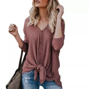 Tops - Tie Front Thermal